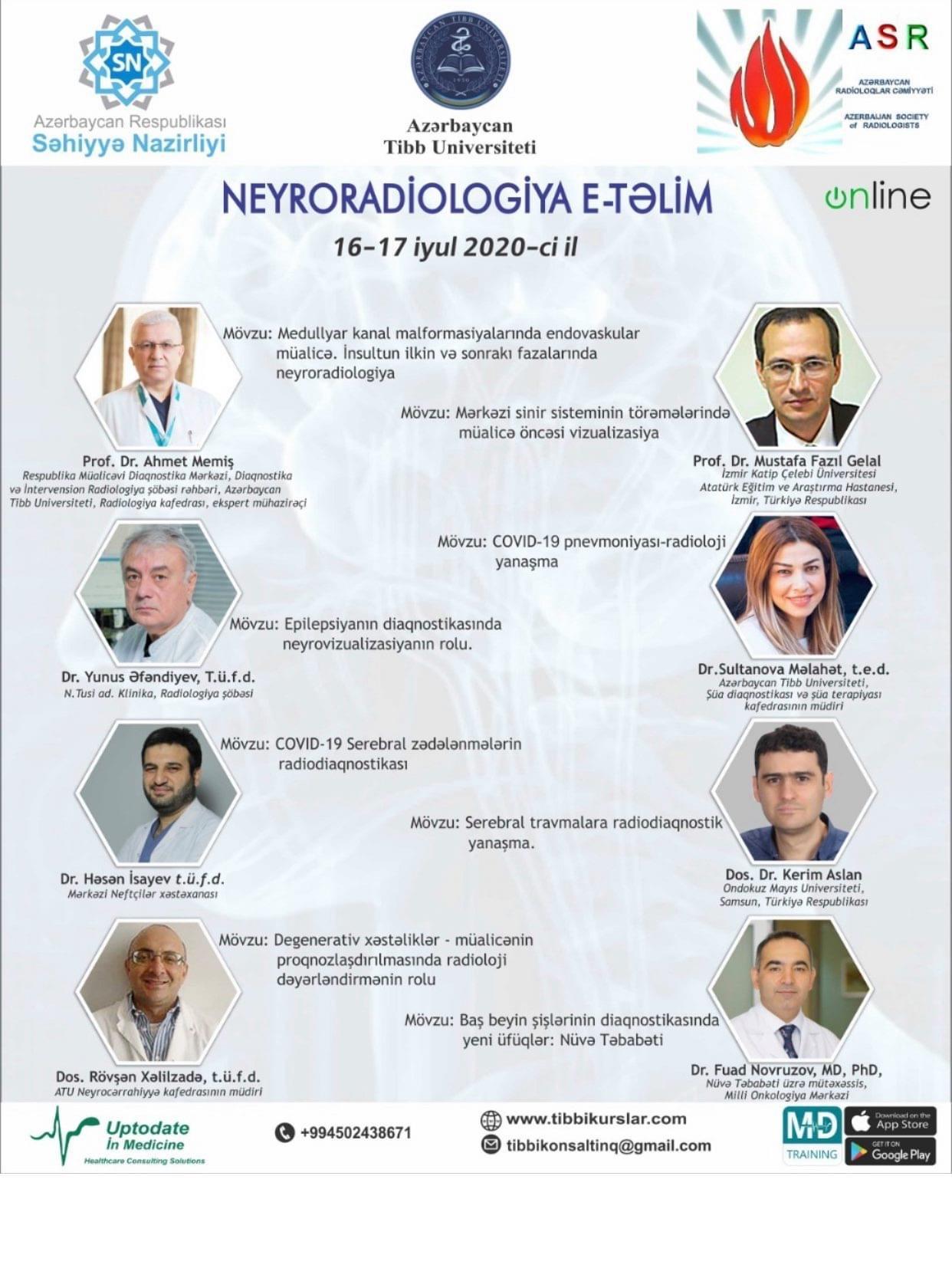 Neyroradiologiyanın aktual problemlərinə həsr olunan e-təlim keçirilib