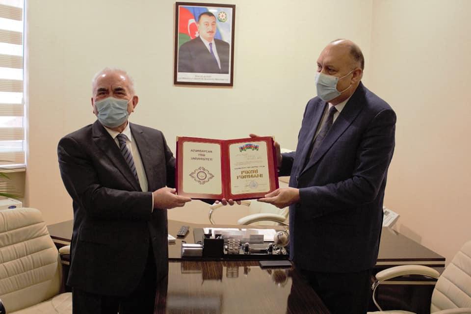 Professor Surxay Musayev ATU-nun Fəxri Fərmanı ilə təltif olunub