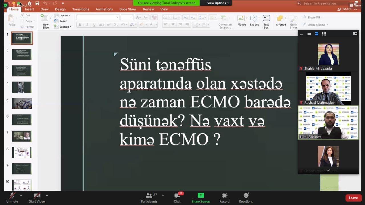 """""""Ağır koronavirus xəstələrində ECMO istifadəsinin xüsusiyyətləri"""" mövzusunda onlayn seminar keçirildi"""